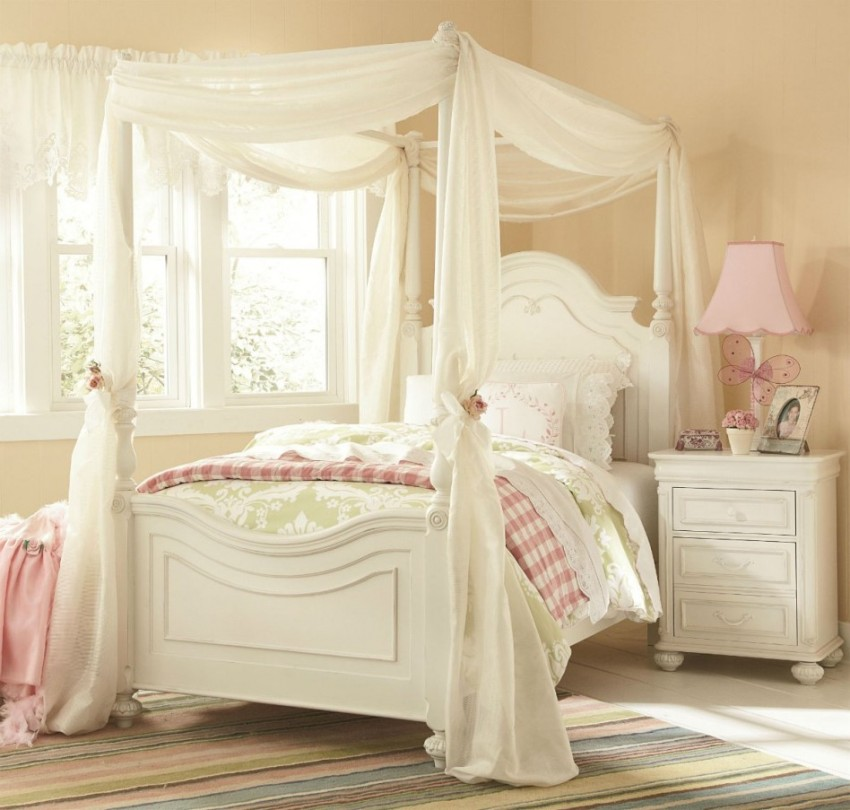 bedroom-inspiring-vintage-girl-stanley-kid-bedroom-furniture-decoration-using-white-wood-girl-canopy-bed-frame-including-light-yellow-cream-bedroom-wall-paint-and-round-bell-scallop-pink-bedside-lamp-