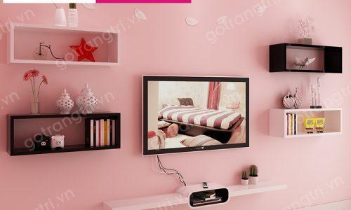 Sáng tạo với Kệ tivi gỗ treo tường Phòng khách, kệ tivi