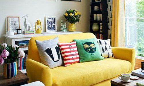 phòng khách đẹp với sofa vàng