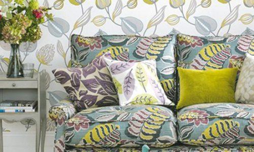 phòng khách đẹp với màu xanh lá và sắc xám.