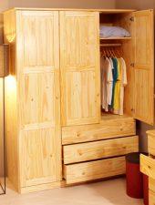 Tủ gỗ tự nhiên, tủ quần áo 3 buồng GHS-5103