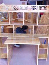 Bàn học kèm giá sách, Bàn gỗ tự nhiên GHS-6111