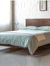 Giường ngủ gỗ venner sồi bấm màu Hạt dẻ GHS-964
