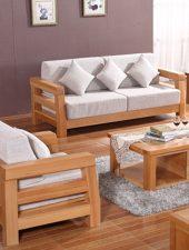 Bộ sofa Gỗ sồi tự nhiên, nệm Nỉ GHS-898