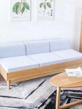 Ghế Sofa văng gỗ sồi, nệm Nỉ GHS-8100