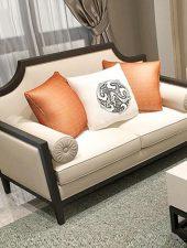 Bộ 7 món bàn ghế sofa gỗ bọc nỉ phòng khách GHS- 8123