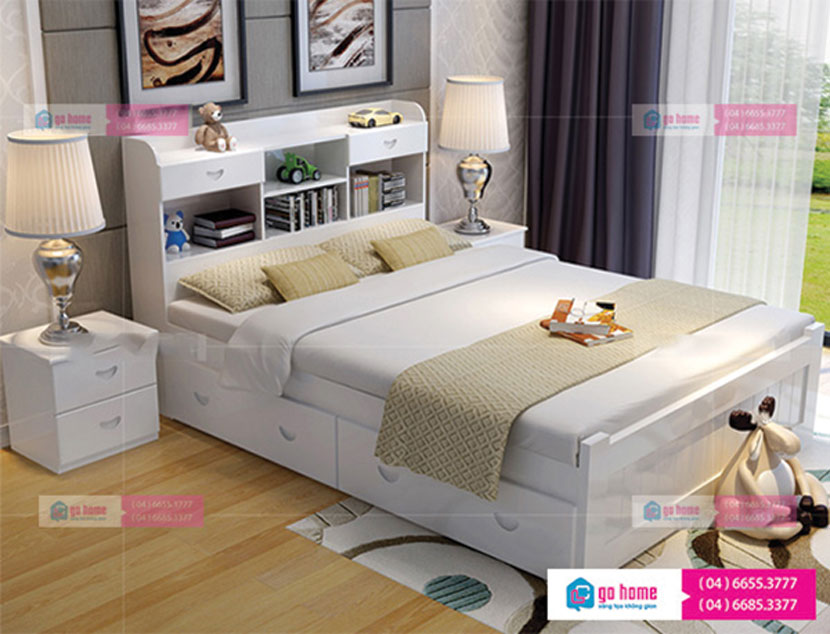 Giường ngủ đẹp GHS-973, với màu sắc nhẹ nhàng, thiết kế đẹp mắt và kiểu dáng sang trọng phù hợp với mọi không gian
