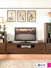 Kệ tivi gỗ tự nhiên cổ điển phong cách Châu Âu GHS-377