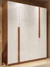 Tủ gỗ đựng quần 4 cánh khắc CNC hoa văn GHS-5198