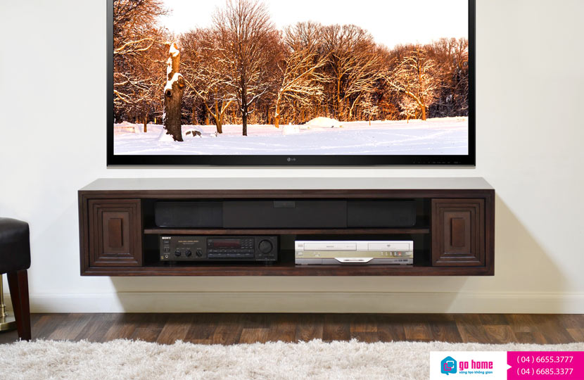 furniture-interior-rustic-espresso-stained-teak-wood-floating-cabinet-with-shelf-under-black-wide-screen-tv-wall-mounted-tv-shelves