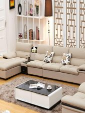 Sofa da đẹp kết hợp kệ để đồ GHS-8192