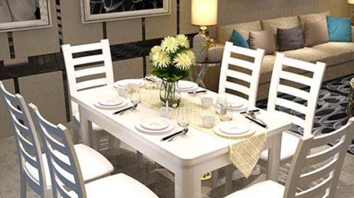 Phòng ăn ấm cúng với bàn ăn gỗ tự nhiên