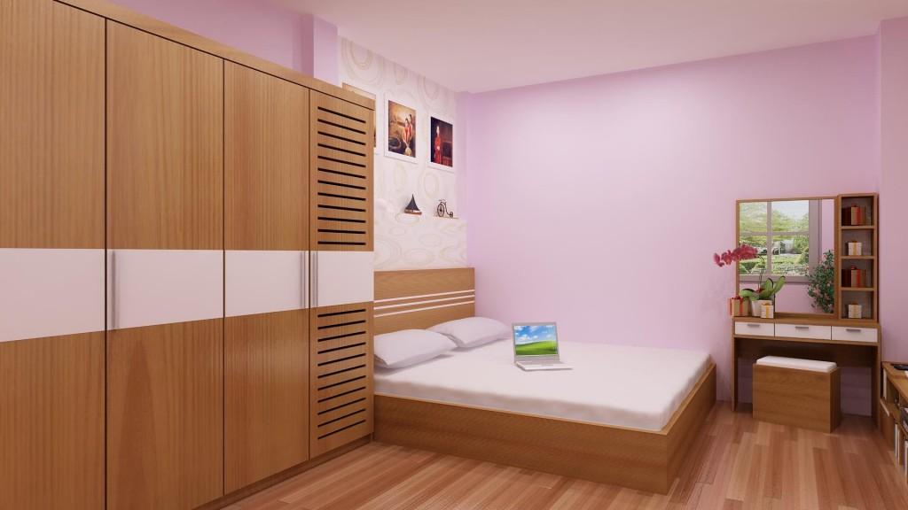 Giường gỗ thanh lịch cho phòng ngủ hiện đại
