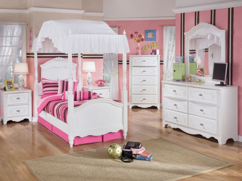 bedroom-epic-pink-girl-stanley-kid-bedroom-furniture-decoration-using-light-pink-bed-valance-including-light-pink-stripe-bedroom-wall-paint-and-white-wood-girl-canopy-bed-frame-contemporary-stanley-ki
