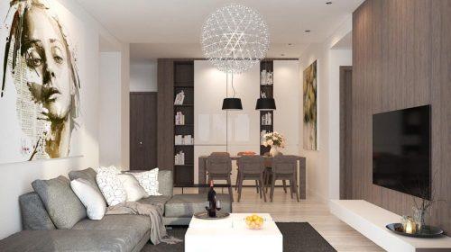 Thiết kế nội thất  phòng khách và bếp ăn hiện đại nhà anh Tuấn - Park Hill