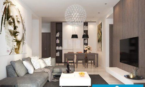 Thiết kế nội thất chung cư phòng khách và bếp ăn phong cách hiện đại nhà anh Tuấn - Park Hill