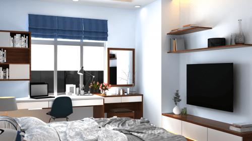 Thiết kế nội thất  phòng khách và phòng ngủ hiện đại nhà chị Phương - An Bình City