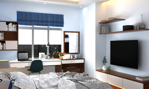 Thiết kế nội thất chung cư phòng khách và phòng ngủ phong cách hiện đại nhà chị Phương - An Bình City