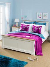 Giường ngủ gỗ sồi sơn trắng xuất khẩu Pháp GHC-903