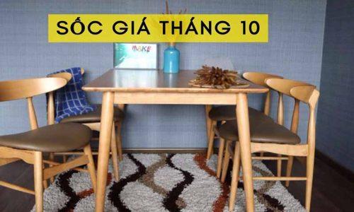 Sốc giá tháng 10 với mã giảm giá lớn bộ bàn ăn 4 ghế hiện đại GHC-4122