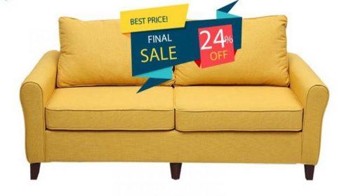 Tặng mã giảm giá 24% sofa văng nỉ vàng V9.SF.06 tại Adayroi