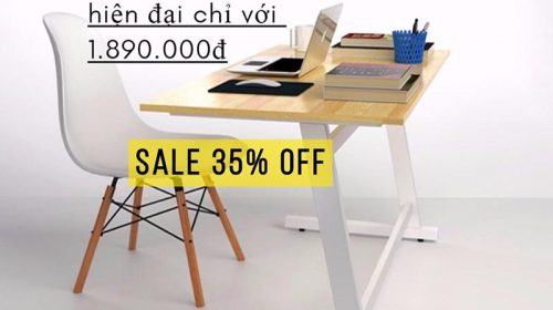 Chia sẻ mã giảm giá 35% bộ bàn bàn việc Rec-Z chân trắng và ghế Eames trắng chỉ với 1.890.000đ