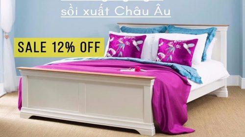 Ưu đãi tháng 9: giảm giá 12% giường ngủ gỗ sồi hiện đại tại GO HOME