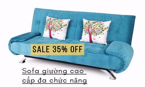 Chia sẻ mã giảm giá 35% sofa giường Juno xanh da trời cao cấp tại Adayroi