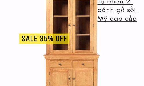 Sốc giá cuối tháng 9: giảm giá 35% tủ chén 2 cánh gỗ sồi cao cấp