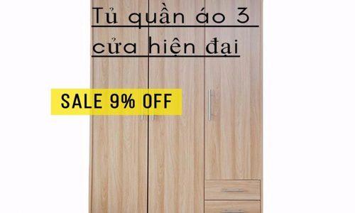 Khuyến mại tháng 9, giảm giá 9% mẫu tủ quần áo 3 cửa hiện đại.