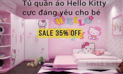 Sốc giá tháng 9, giảm giá 35% mẫu tủ quần áo Hello Kitty cực đáng yêu cho bé.