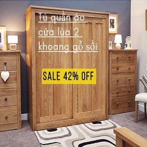 Tiết kiệm 42% khi mua tủ quần áo cửa lùa gỗ sồi cao cấp tại Adayroi