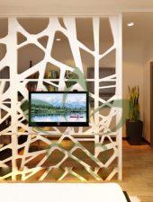 Vách ngăn gỗ trang trí phòng khách đẹp GHO-504