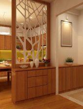 Vách ngăn gỗ phòng khách và bếp đẹp GHO-515