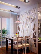 Vách ngăn gỗ phòng khách và bếp đẹp GHO-522