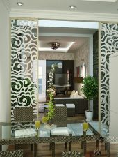 Vách ngăn gỗ phòng khách và bếp đẹp GHO-541