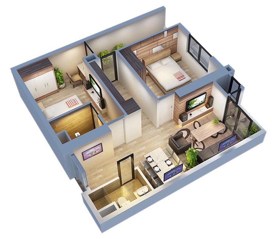 Điểm nổi bật nhất của loại căn hộ chung cư 75m2 này là thiết kế nội thất phòng khách liền phòng bếp/bàn ăn - ý tưởng sáng tạo không bao giờ lỗi thời.