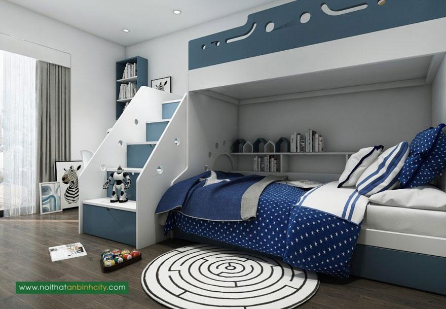 Thiết kế phòng ngủ dành cho 2 bé trong căn hộ chung cư 75m2