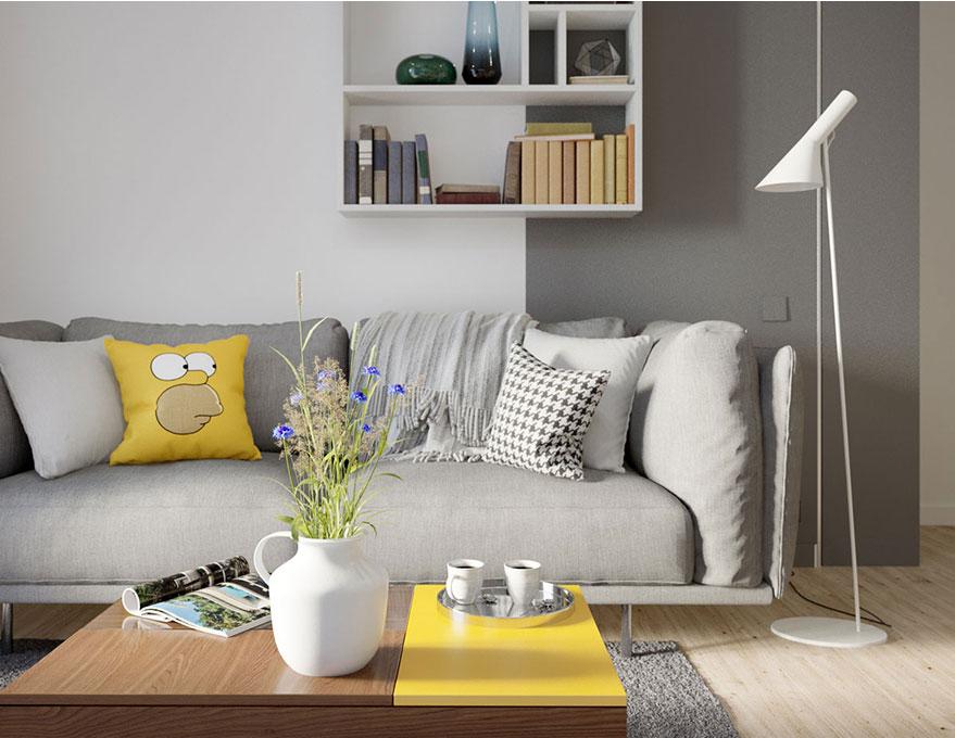 Được thiết kế đơn giản nhưng bộ ghế sofa màu xám ấm là lựa chọn tuyệt vời cho căn hộ chung cư nhà anh Cường vào mùa đông.