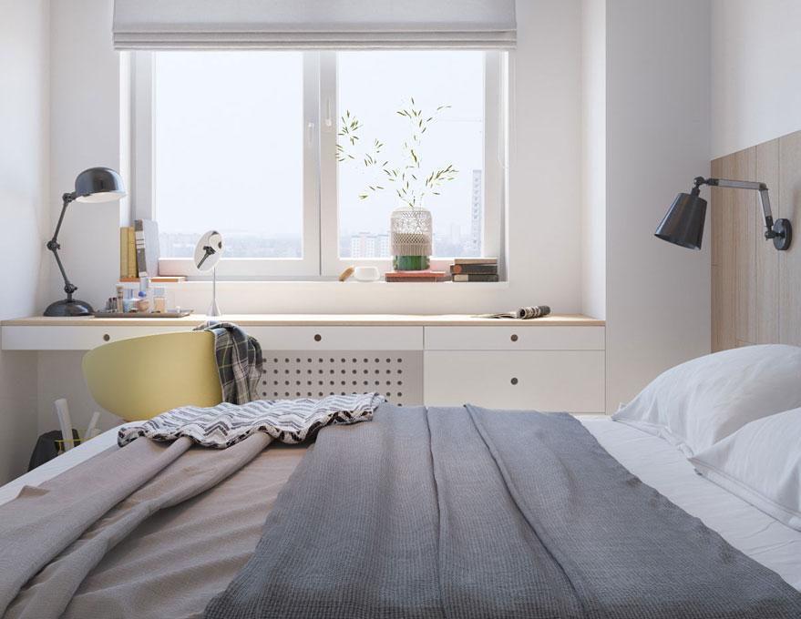 Nhờ ý tưởng đơn giản, phòng ngủ của căn hộ chung cư vẫn đủ ánh sáng tự nhiên mà không cần cửa sổ lớn