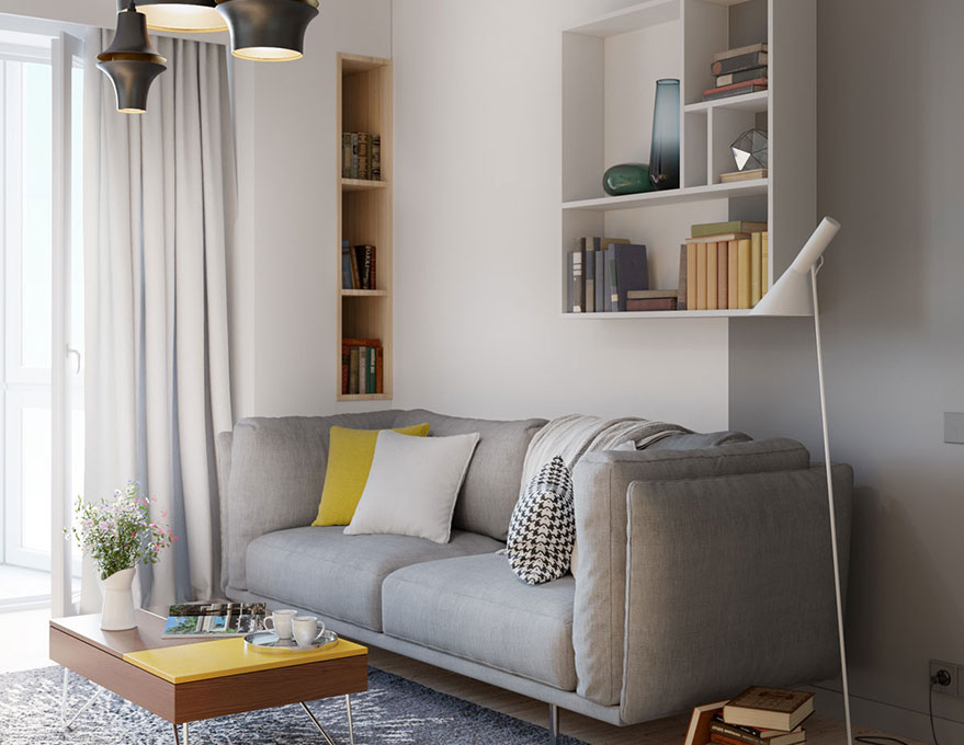Căn hộ chung cư được lắp đặt cửa kính ra ban công sẽ thu hút ánh sáng tự nhiên vào căn phòng. Kệ gỗ, bức tường được sơn màu xám là cách để không gian không bị chói bởi quá nhiều ánh sáng mặt trời.