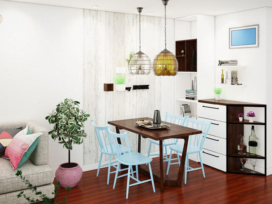 Ý tưởng thiết kế bàn ăn trong căn hộ chung cư 75m2