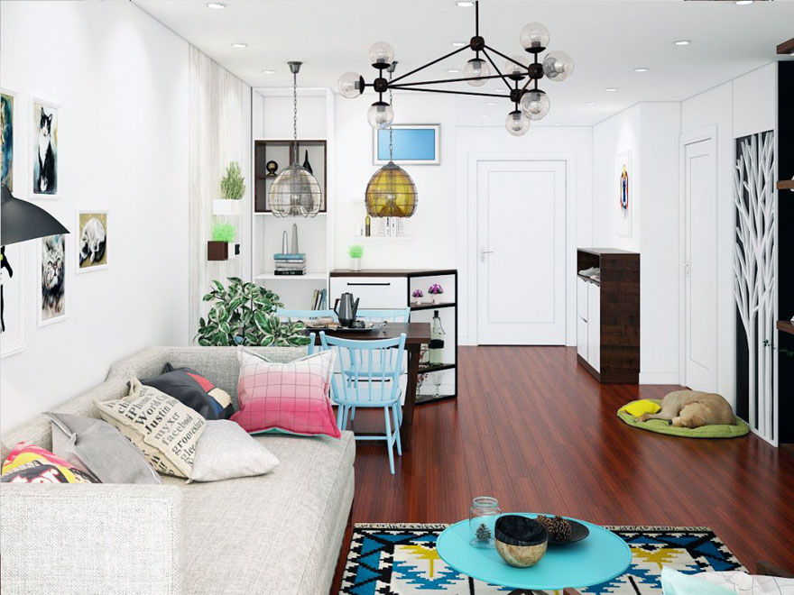 Không gian phòng khách kết hợp giữa ghế sofa nỉ và Bàn trà phong cách Scanadivian chung cư 75m2 nhìn từ hướng ban công.