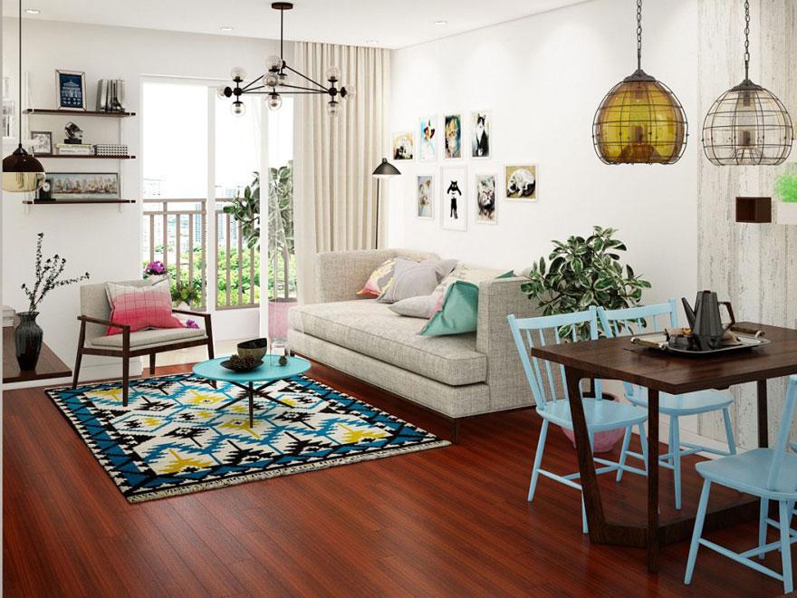 Không gian phòng khách và ban công của căn hộ chung cư 75m2