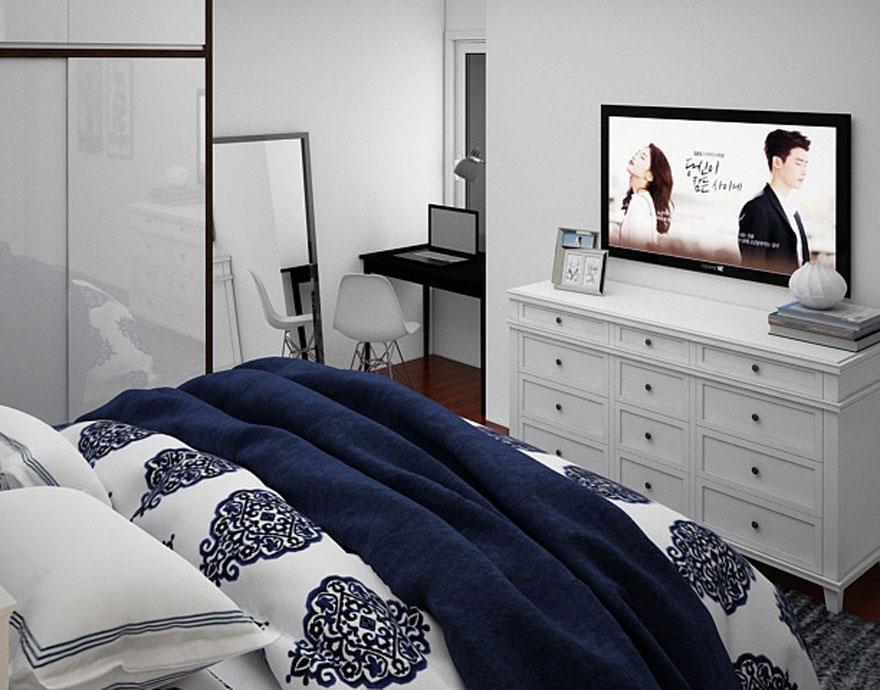 Phòng ngủ dành cho đôi vợ chồng trong căn hộ chung cư 75m2