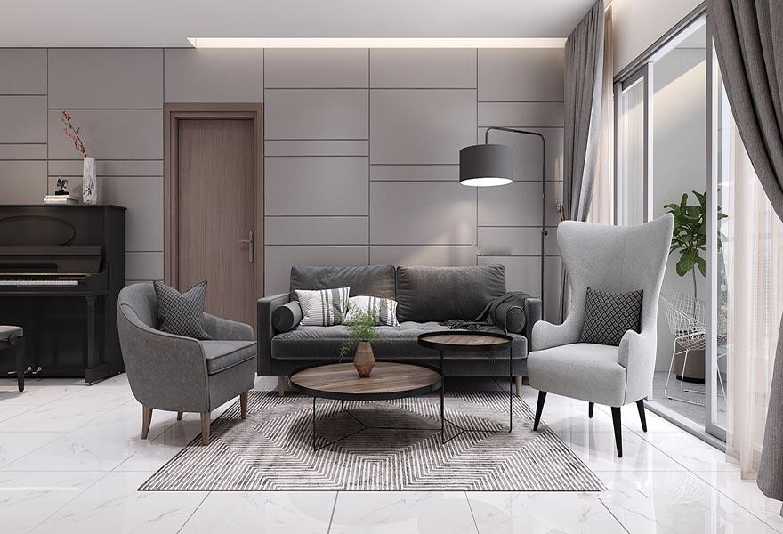Thảm trải sàn lông ngắn họa tiết đơn giản với màu sắc phù hợp trong không gian nội thất phòng khách