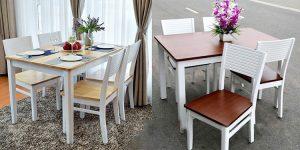 Bộ bàn ăn 4 ghế hiện đại gỗ Sồi với nhiều mà