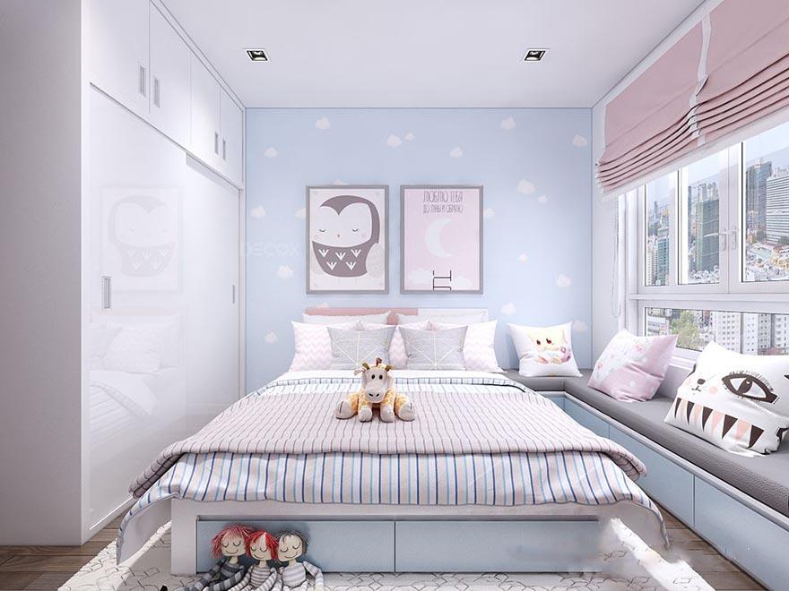 Bức tường sơn màu xanh biển như bầu trời kết hợp với những bức tranh với hình ảnh thích hợp với trẻ con