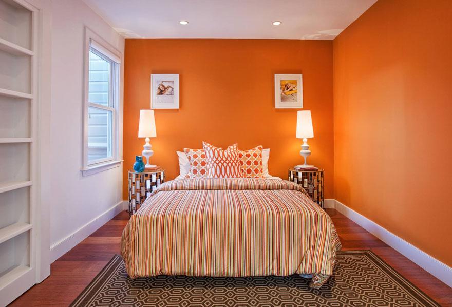 Nội thất phòng ngủ màu cam giúp cơ thể thư giãn