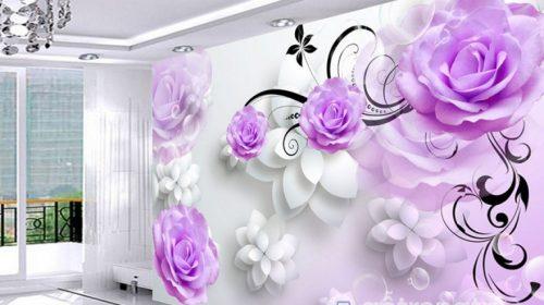 Mẫu giấy dán tường phòng ngủ màu tím đẹp lãng mạn HOT nhất 2018